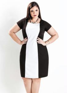 Vestido Tubinho Bicolor Preto e Branco Plus Size