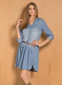 Vestido Chemise Jeans Azul Manga Longa