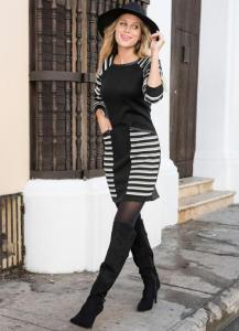 Vestido de Tricô Listrado Preto/Cinza