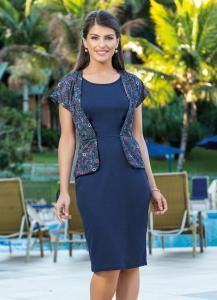 Vestido com Sobreposição Azul e Floral