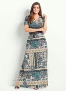Vestido Longo Mandala com Fenda Moda Evangélica