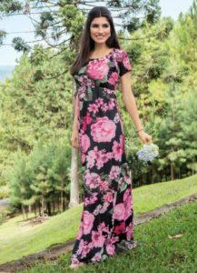 Vestido Longo Floral Dark Moda Evangélica