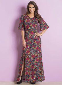 Vestido Longo Floral e Cashmere Moda Evangélica