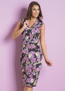 Vestido Midi com Gola Floral Moda Evangélica