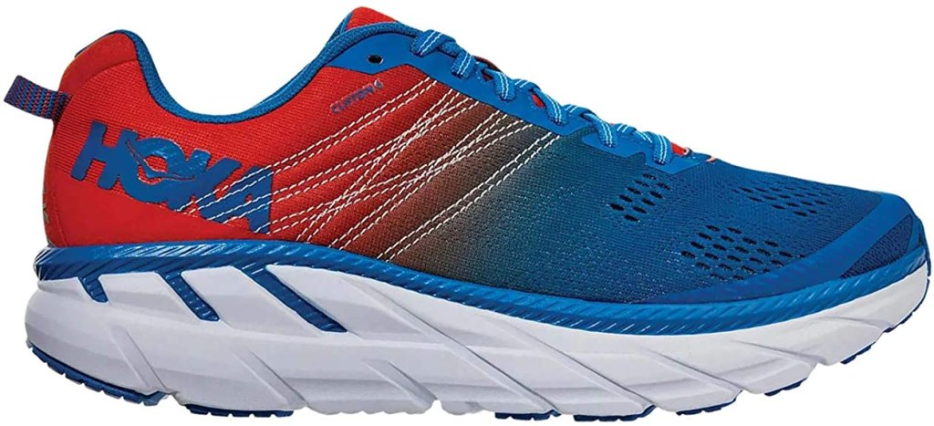HOKA ONE ONE Scarpe Running Clifton 6, Colore Mandarin Red Imperial Blue