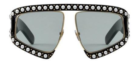 Gucci occhiale da sole rettangolare in acetato con perle