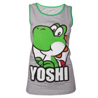 Grey Green Yoshi Girls Tank Top LARGE