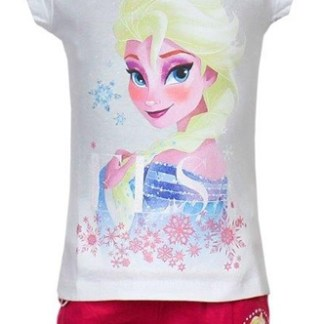 "Disney Frozen Shortama Elsa Stars wit/roze "" 8 jaar"""