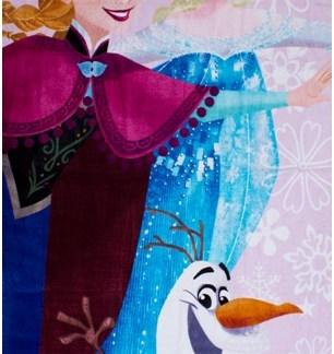 """Diseny Frozen Badhandoek """"Elsa, Anna en Olaf"""" Roze 75 x 150cm"""