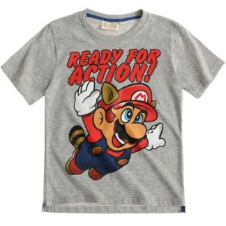 Super Mario ready for action T-Shirt grijs