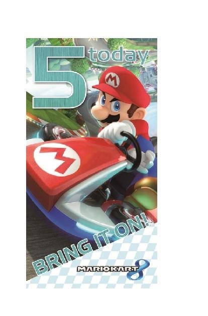 5 today bring it on! Verjaardagskaart Super Mario
