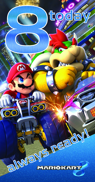 "Mariokart 8 ""8 today Always Ready! verjaardagskaart"""