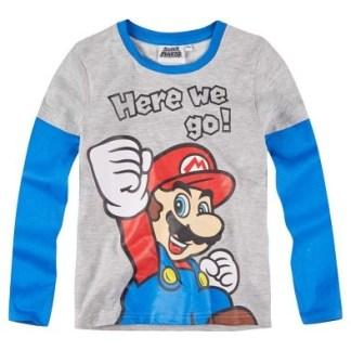 """Super Mario shirt """"here we go"""" lange mouw"""