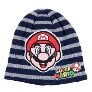 "Super Mario Bros Gebreide muts striped marineblauw ""maat 54"""