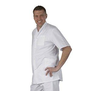 Label blouse Tunique médicale homme col officier 3 poches fermeture pressions Sergé 210 gramme Couleurs Blanc Pressions inoxydables Lavage Machine 90 degrés ou industriel T3-44/46