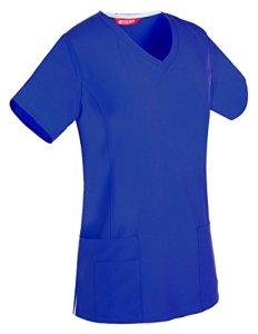 Tunique infirmière Femme Étendue Tunique médicale col V (M, Royal)