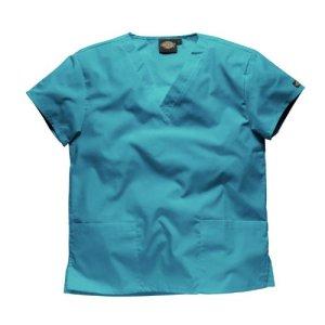 Tunique médicale à col en V Dickies unisexe (XL) (Turquoise)