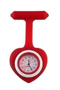 Montre Poche Infirmière Silicone Rouge Forme Coeur Cadran Blanc Broche Médical Lavable