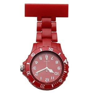 JSDDE Affaire infirmière de Plastique Docteur Medecin Montre de Poche Broche Quartz Epingle Gousset (Rouge)
