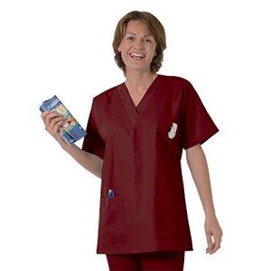 Blouse médicale type tunique col V idéale blouse vétérinaire blouse dentiste blouse pharmacie popeline 65/35 Burgundy 817 T0 – 36