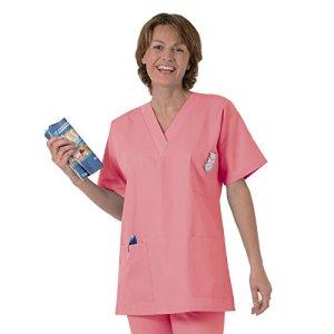 Blouse médicale type tunique col V idéale blouse vétérinaire blouse dentiste blouse pharmacie popeline 65/35 Panter pink 533 T00 – 34