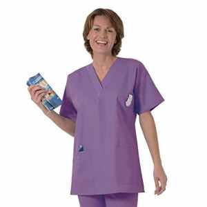 Blouse médicale type tunique col V idéale blouse vétérinaire blouse dentiste blouse pharmacie popeline 65/35 Purpule 532 T5 -52/54