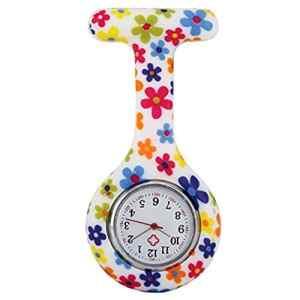 YLLY Coque en silicone Fleurs colorées à motif infirmière montre de poche montre infirmière médicale montre