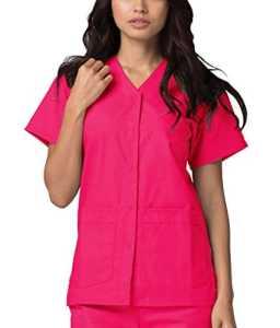 Adar Uniforms Uniformes Médicaux pour Femmes Double Poche Avant à Fermoir Blouse d'Infirmière Haut d'Hôpital – 604 Couleur: FRP | Taille: S
