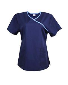 JONATHAN UNIFORM Haut Blouse Médicale avec Col Y et Poche pour Femme Infirmière Doux Uniforme d'Hôpital Souple Scrub Top (Bleu, L)