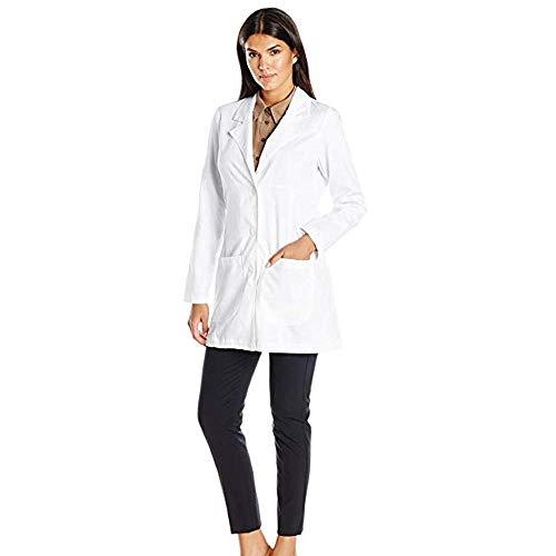 IKWO Nouveau femme blouse blanche blouse d'infirmière Vêtements de travail pour Vêtements à manches longues le laboratoire qui conviennent au laboratoire,au salon de beauté, à l'hôpital,à la pharmacie