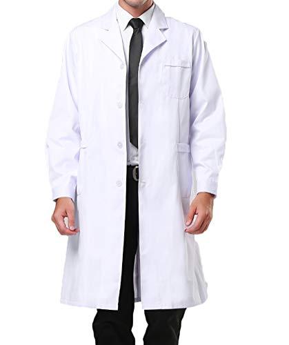 Nanxson Blouse Médecin Veste Médicale Uniforme de Travail Labo Manches Longues pour Hommes/Femmes ME0019 (Blanc, M)