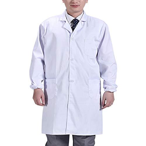 Artibetter Hommes Manteau Médical à Manches Longues Blouse de Laboratoire avec Poches Médecin Costume Gommage Manteau pour Hôpital Laboratoire (Blanc) Taille XXXL