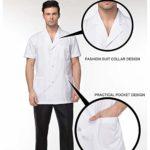 Yuanou Vêtements Médicaux Dentiste Chemises De Labo Vestes Hommes Femmes Médecins Uniformes Pharmacie Labo Manteau Infirmière Uniforme Manteau Blanc – Blanc – Taille Unique
