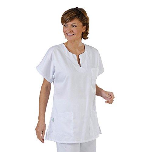 Label blouse Tunique médicale type marinière Femme 3 poches col goute d'eau Piqué aspect cotelé moderneCouleurs Blanc Enfilage par la tête Lavage Machine 90 degrés ou industriel T0-36