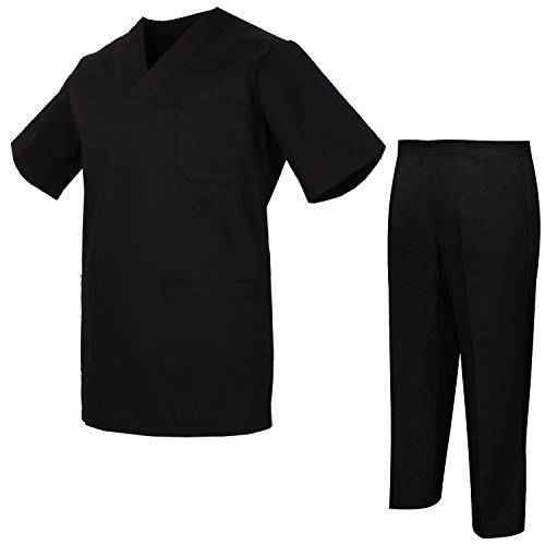 Misemiya – Ensemble Uniformes Unisexe Blouse – Uniforme Médical avec Haut et Pantalon – Ref.8178 – Small, Noir