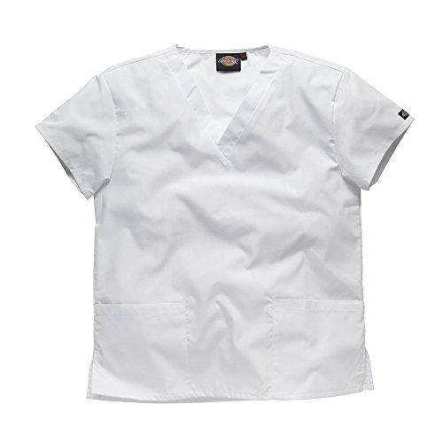 Dickies Workwear Chemise de médecin avec 2poches et col en V – blanc – X-Small