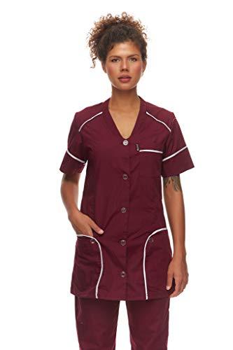 Mazalat Kasack – Veste médicale à enfiler à manches courtes – Fabriquée en UE – Vêtement de travail médical pour les personnes âgées – Uniforme médicale – Rouge – XX-Large