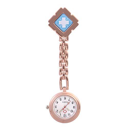 Cxypeng Montre infirmière Hopital,Table d'examen médical de Poche de chronomètre léger, Clip étanche Poitrine-C Bleu doré,Montre Infirmière Montre de Poche