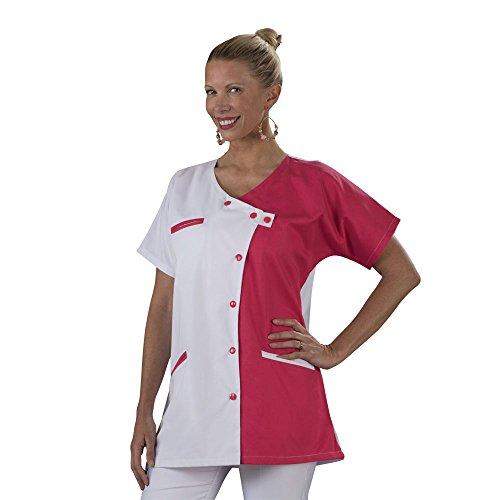 Label blouse Tunique blouse médicale couleur moderne 3 poches passe poiles Fermeture asymétrique Sergé 210 gramme Couleurs Blanc Rose Pressions couleurs Lavage Machine 90 degrés ou industriel, Blanc, Rose, T1-38/40