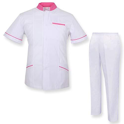 Misemiya – Ensemble Uniformes Unisexe Blouse – Uniforme Médical avec Haut et Pantalon – Ref.7018 – X-Large, Blanc