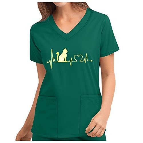 VêTements De Travail Et Uniformes,Blouse Médical Femme Col V à Manches Courtes Coton avec Poches Vetement Medical Uniforme Médicale Haut de Travail Top de Laboratoire Médical Chemise Top Angel
