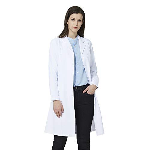ANNISOUL Blouse de Laboratoire Blanche pour Femme, Uniforme de médecin Professionnel, Coupe ajustée, 3 Poches (Blanc, M)