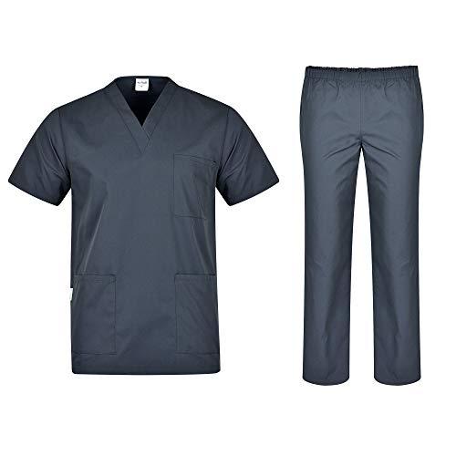 B-well Colombo Uniforme Médicale Unisexes Ensemble: Haut et Pantalons + Blouse Medicale Femme/Homme – Tenue Aide Soignante Professionnelle Vêtement médical – Gris – Medium