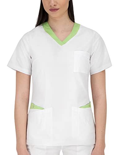 B-well Paola Blouse Medicale Femme Manche Courte Tunique Médicale Blouse Pharmacie Uniforme Médical Blouse Estheticienne Col V 3 PochesBlanc/Vert48