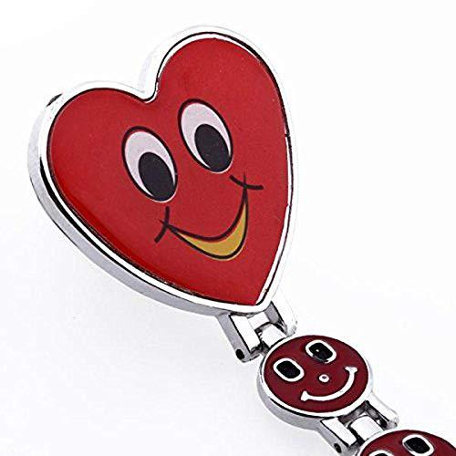 CAIDAI&YL Montre gousset à quartz avec motif cœur souriant et infirmières médicaux Rouge