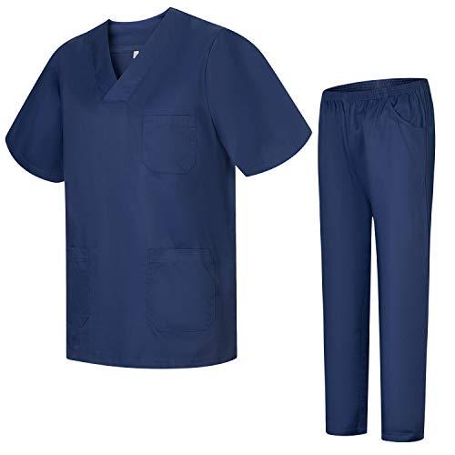 Misemiya – Ensemble Uniformes Unisexe Blouse – Uniforme Médical avec Haut et Pantalon – Ref.8178 – Medium, Bleu Marine