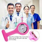 N/U Lot de 4 montres d'infirmière en silicone avec broche, clip, contrôle des infections, montre en gel de silice, infirmière, médecin, broche sportive, bleu clair, bleu foncé, vert menthe, noir