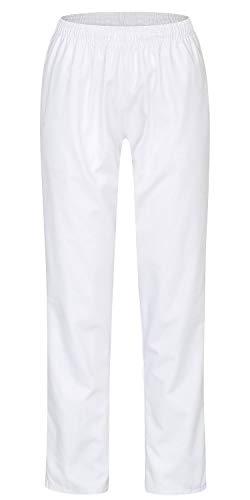 Pantalon d'infirmière|Avec taille élastique et cordon de serrage|Hygiénique Lavable à 90°C|Pantalon Medi avec un poids de tissu optimisé (195 g/m²)|Blanc W50
