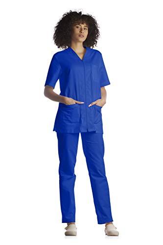 Tecno Hospital Tenue complète pour hôpital, blouse et pantalon, pour esthéticien, infirmier, médecin, unisexe avec fermeture éclair – Bleu – XXL
