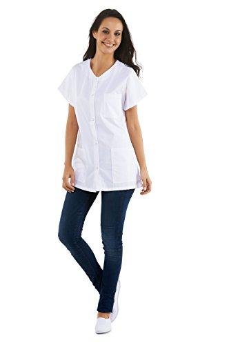 Tunique médicale col V avec boutons pression, manches courtes 3 poches – infirmière pharmacie (Taille 1 – 38/40) – Blanc